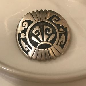 Authentic Native American Silver Brooch